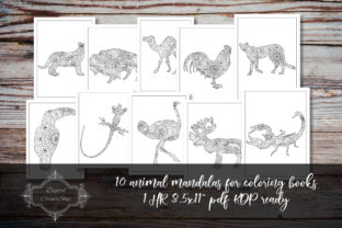 Print on Demand: 10 Animal Mandalas for Coloring Books 4 Graphic Coloring Pages & Books By digitalcornershop