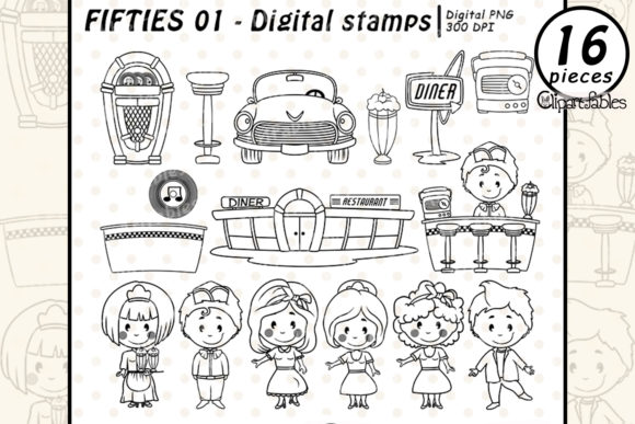 1950s, Fifties, Diner - Digital Stamps Graphic Illustrations By clipartfables