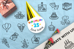 Print on Demand: 25 Birthday Hand Drawn Icons, Logo Graphic Crafts By Tosca Digital