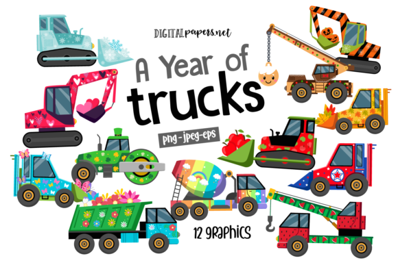 Print on Demand: A Year of Trucks Clipart Set Gráfico Ilustraciones Por DigitalPapers