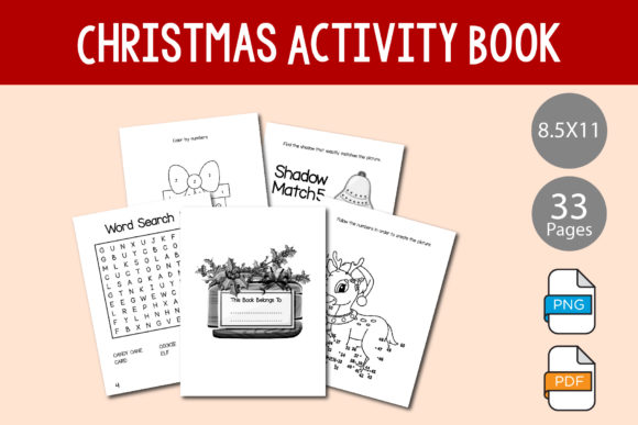 Print on Demand: Activity Book for KDP - Christmas Theme Graphic KDP Interiors By IsaraDesign