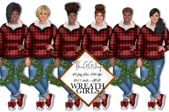 Print on Demand: Afro Girl Christmas Girls Cliparts Graphic Illustrations By TheGGShop