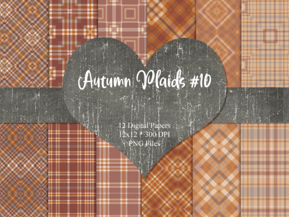 Print on Demand: Autumn Plaids 10 Graphic Backgrounds By Whiskey Black Designs