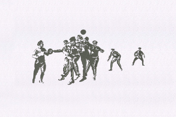 Ball Playing Soldiers Military Embroidery Design By DigitEMB
