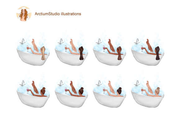 Print on Demand: Bath with Wine Clipart, Relaxing in Bath Graphic Objects By arctiumstudio