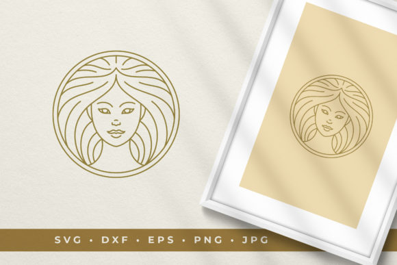 Beautiful Woman's Face in a Circle Logo Graphic Illustrations By vasyako1984