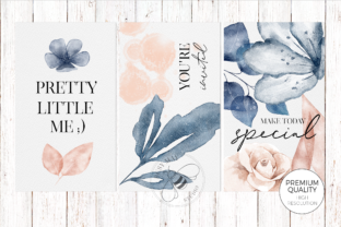 Print on Demand: Blush and Blue Leaves Florals Watercolor Graphic Illustrations By Busy May Studio 2
