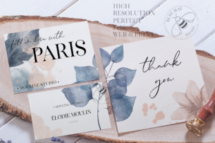Print on Demand: Blush and Blue Leaves Florals Watercolor Graphic Illustrations By Busy May Studio 3