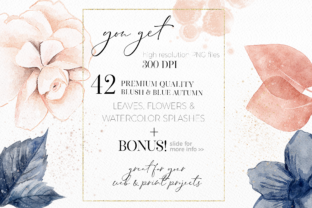Print on Demand: Blush and Blue Leaves Florals Watercolor Graphic Illustrations By Busy May Studio 4