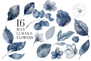 Print on Demand: Blush and Blue Leaves Florals Watercolor Graphic Illustrations By Busy May Studio 5