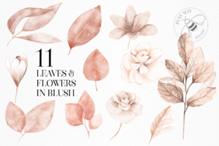 Print on Demand: Blush and Blue Leaves Florals Watercolor Graphic Illustrations By Busy May Studio 6