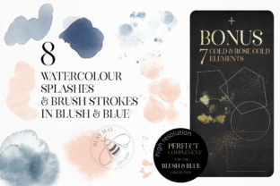 Print on Demand: Blush and Blue Leaves Florals Watercolor Graphic Illustrations By Busy May Studio 7