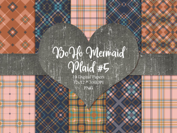 Print on Demand: BoHo Mermaid Plaid 5 Graphic Backgrounds By Whiskey Black Designs