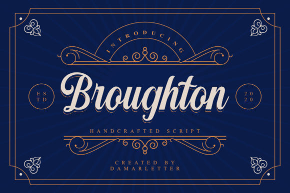 Print on Demand: Broughton Script & Handwritten Font By Damarletter