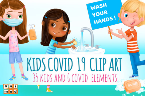 COVID 19 for Kids Clip Art Grafik Illustrationen von AnimadDesign