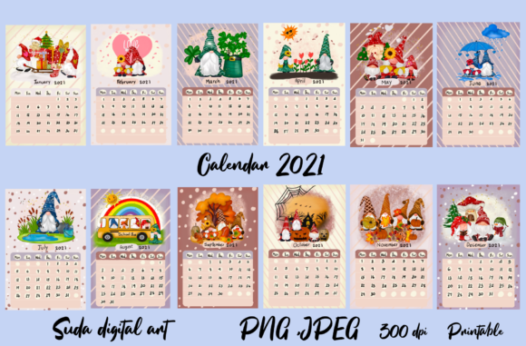 Print on Demand: Calendar 2021 Gnomes Design Printable Graphic Illustrations By Suda Digital Art