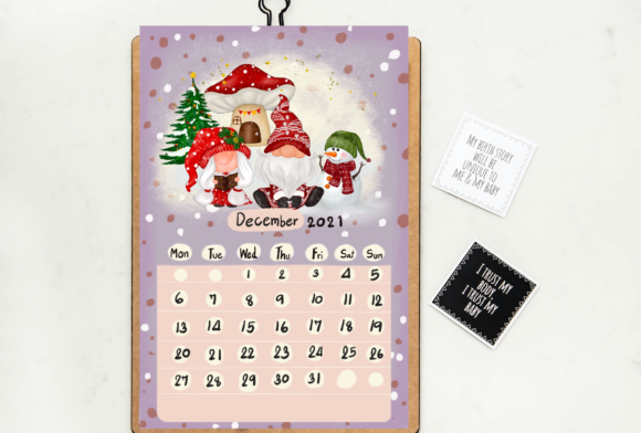 Calendar 2021 Gnomes Design Printable Graphic Graphic