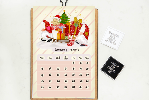 Calendar 2021 Gnomes Design Printable Graphic Download