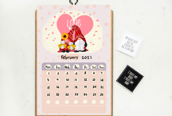 Calendar 2021 Gnomes Design Printable Graphic Item