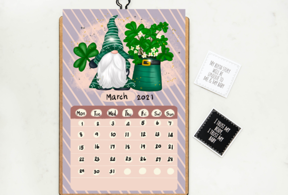 Calendar 2021 Gnomes Design Printable Graphic Design