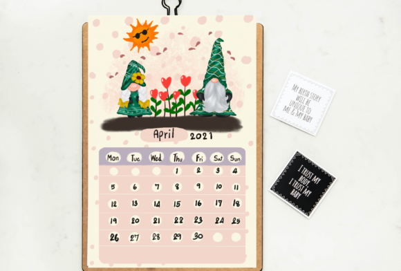 Calendar 2021 Gnomes Design Printable Graphic Preview