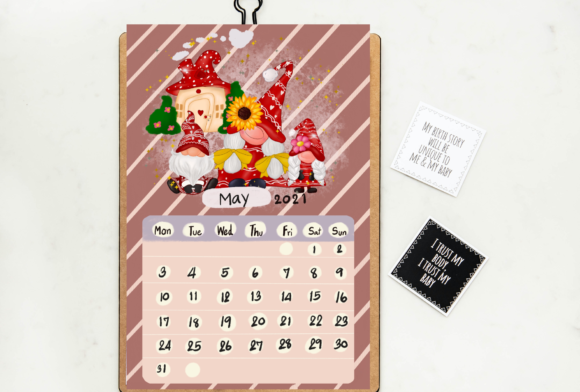 Calendar 2021 Gnomes Design Printable Graphic Image