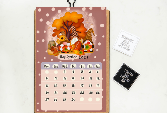 Calendar 2021 Gnomes Design Printable Graphic Popular Design
