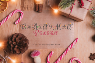 Print on Demand: Christmas Colors Monogram Color Fonts Font By Sarurday Champagne