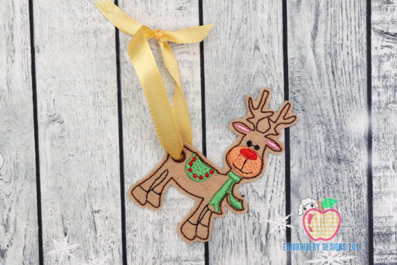 Christmas Deer with Scarf Ornament Christmas Embroidery Design By embroiderydesigns101