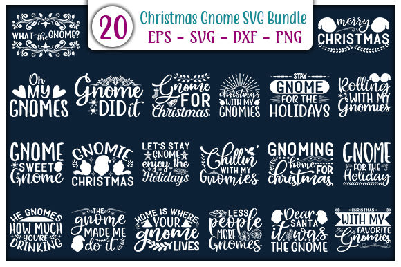 Print on Demand: Christmas Gnome Quotes Design Bundle Graphic Print Templates By GraphicsBooth