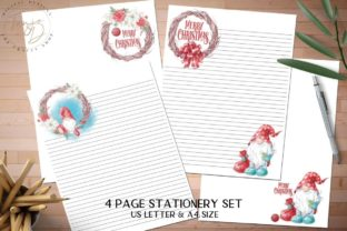 Print on Demand: Christmas Gnomes Stationery Set Graphic Illustrations By The Crafty Shop