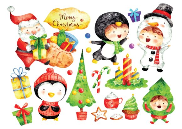 Christmas Cartoon Water Color Vector Graphic Illustrations By Big Barn Doodles