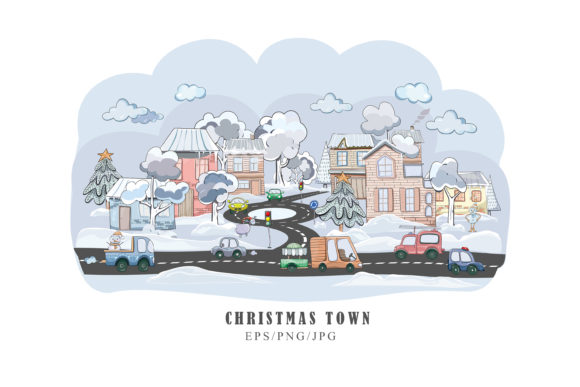 Print on Demand: Christmas Cityscape Clipart. EPS/png/jpg Graphic Illustrations By Tiana Geo