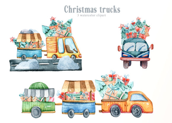 Print on Demand: Christmas Trucks Clipart. Gift Boxes Graphic Illustrations By Tiana Geo