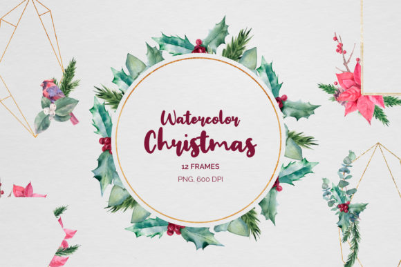 Christmas Watercolor Geometric Frames Graphic Illustrations By pavlova.j91
