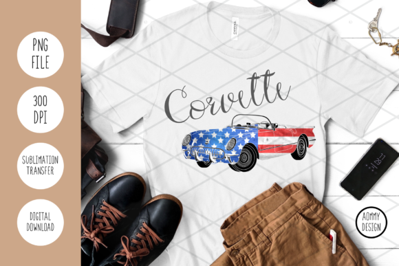 Corvette USA 2 Graphic Crafts By Aommy Design