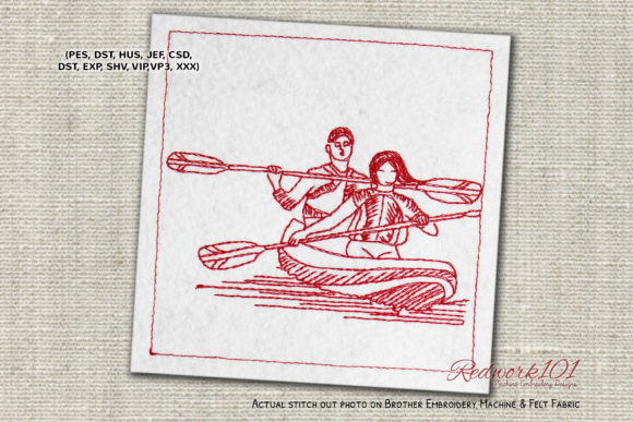 Couple Boating Redwork Valentine's Day Embroidery Design By Redwork101
