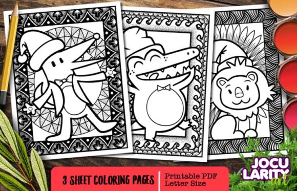 Cute Christmas Predators Coloring Page Graphic By Jocularityart Creative Fabrica