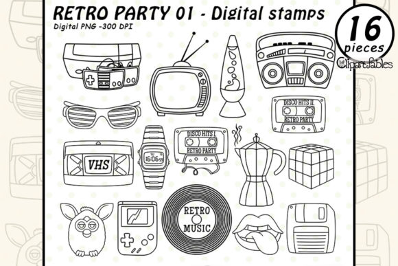 Cute Retro Party 1 - Digital Stamps Graphic Illustrations By clipartfables