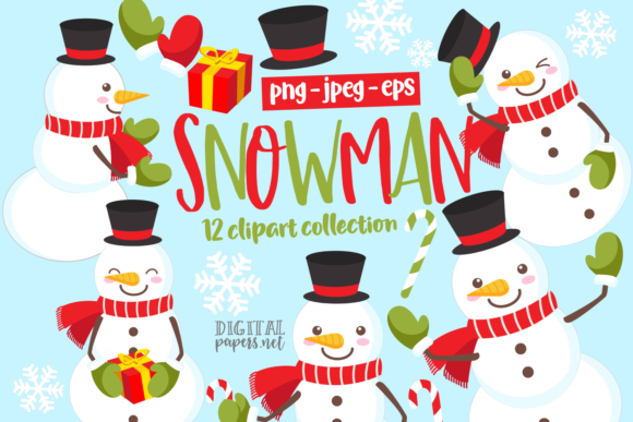 Print on Demand: Cute Snowman Clipart Set Graphic Illustrations By DigitalPapers