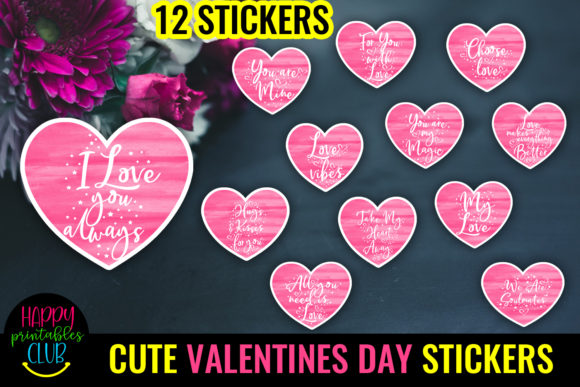 Cute Valentines Day Hearts Stickers - Love Graphic Crafts By Happy Printables Club