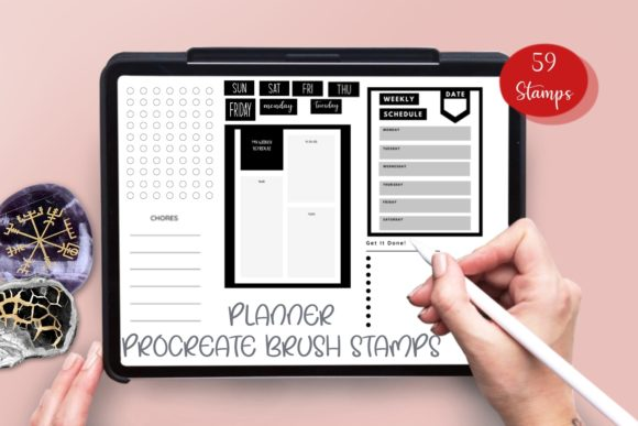 Print on Demand: Digital Planner Brush Stamps Graphic Brushes By Fleur de Tango