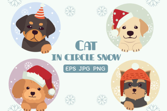 Dog in Circle Snow Chistmas Theme Graphic Illustrations By Guppic the duck