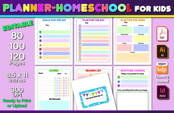 Editable Planner - Homeschool for Kids Graphic KDP Interiors By okdecoconcept