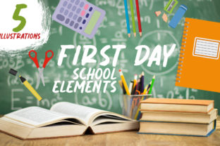 First Day, School Elements Graphic Crafts By Firefly Designs