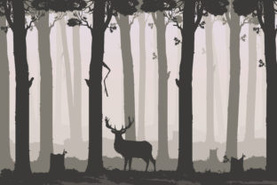 Print on Demand: Flat Background with Deciduous Forest Graphic Illustrations By Sergey360