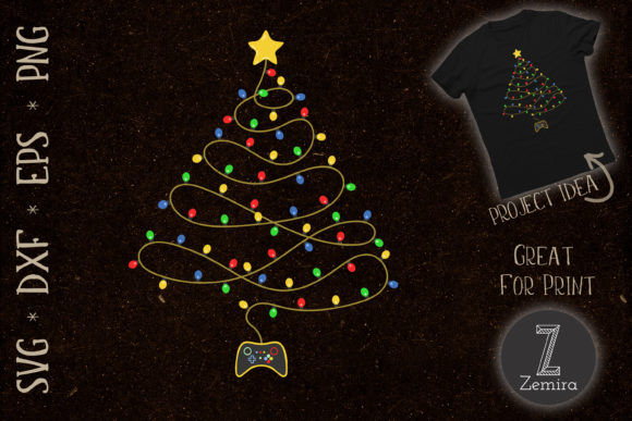 Print on Demand: Funny Video Game Christmas Tree Lights Graphic Print Templates By Zemira