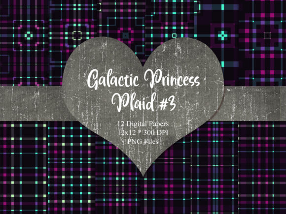 Print on Demand: Galactic Princess Plaid 3 Graphic Backgrounds By Whiskey Black Designs