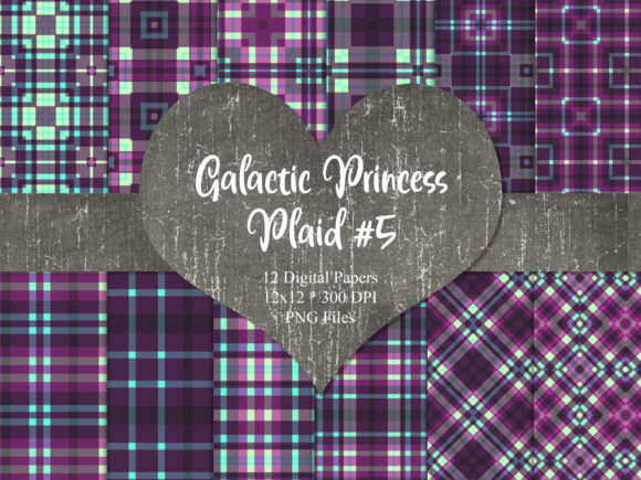 Print on Demand: Galactic Princess Plaid 5 Graphic Backgrounds By Whiskey Black Designs