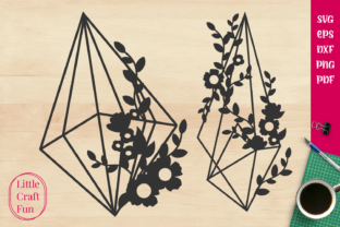 Print on Demand: Geometric Cute Flowers Graphic Crafts By Little Craft Fun
